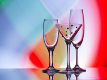 Wine, Champagne and coctail Glasses. Freeze light background. Copy space for your text stock images