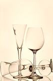 Wine and champagne glasses Stock Image