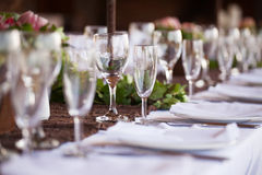 Wine and champagne glasses. Selective focus Royalty Free Stock Images