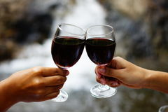 Wine cheers. Red wine glasses cheers party royalty free stock photography