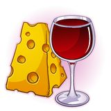 Wine and Cheese. A snack for the upper class, wine and cheese is a french favorite Stock Image