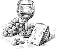 Wine and cheese. Vector drawing of a wine glass, grape and cheese Stock Photography