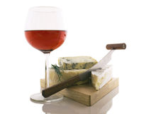 Wine and cheese. A good glass of wine and different kinds of frech cheeses Stock Images