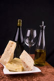 Wine and cheese appetizer stock images