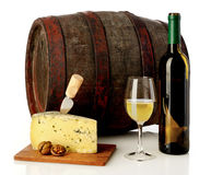 Wine, cheese and barrel. White wine, cheese and barrel isolated on white stock images
