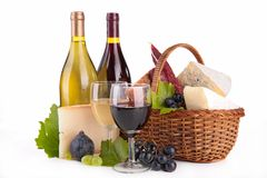 Wine,cheese and bread Royalty Free Stock Photos