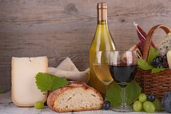 Wine,cheese and bread Royalty Free Stock Image