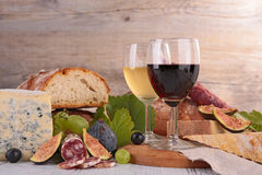 Wine,cheese and bread Stock Images