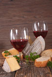 Wine,cheese and bread Royalty Free Stock Photography
