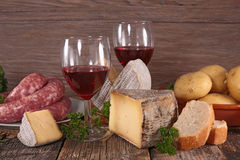 Wine,cheese and bread Stock Photo