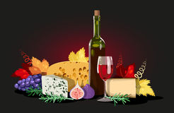 Wine and cheese composition Royalty Free Stock Image
