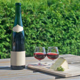 Wine and cheese in countryside Stock Photo