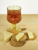 Wine, Cheese, and Crackers Royalty Free Stock Images