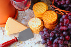 Wine, cheese and crackers still life Royalty Free Stock Image