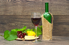 Wine, cheese and fruit Stock Photo