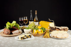 Wine, cheese and fruits Stock Photo