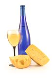 Wine, cheese and glass Royalty Free Stock Image