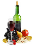 Wine,cheese and grape Royalty Free Stock Photos