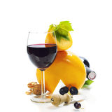 Wine, cheese and grape Stock Photos