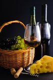Wine, cheese and grapes Royalty Free Stock Photo