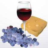 Wine, cheese and grapes. Royalty Free Stock Image