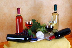 Wine, cheese and grapes Stock Photo