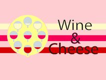 Wine And Cheese Logotype Background. Flat Design stock illustration