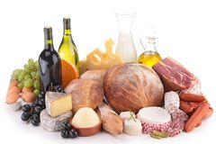 Wine,cheese,meat and bread Stock Photo