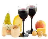 Wine, cheese and pear Royalty Free Stock Images