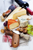 Wine and cheese plate Royalty Free Stock Images