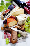 Wine and cheese plate Royalty Free Stock Photo