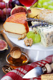 Wine and cheese plate Stock Image