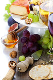 Wine and cheese plate Royalty Free Stock Image