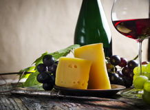 Wine and cheese stock image