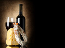 Wine, cheese and salami Royalty Free Stock Photo