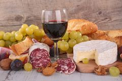 Wine,cheese and salami Royalty Free Stock Image