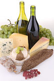 Wine with cheese and sausage Stock Images