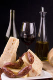Wine Cheese and Sausage royalty free stock photos