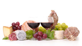 Wine,cheese and sausage Stock Photo