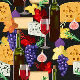 Wine and cheese seamless Stock Photography