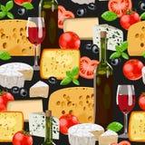 Wine and cheese seamless Stock Photo
