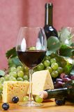 Wine and Cheese still life Stock Images