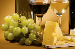 Wine and cheese still-life Royalty Free Stock Photo