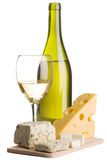 Wine and cheese still-life Stock Photos