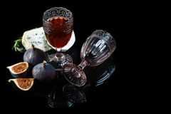 Wine and cheese still life. Food background. Top view. Copy space royalty free stock photos