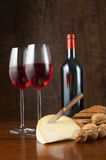 Wine and cheese table Royalty Free Stock Photography