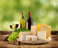 Wine and cheese tasting in the countryside Royalty Free Stock Photo