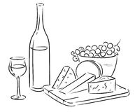 Wine and cheese. Vector outline illustration of a cheese plate and wine Stock Image