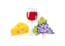Wine and cheese vector Royalty Free Stock Photos