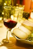 Wine and cheese0. Red wine and italian pecorino cheese stock photos